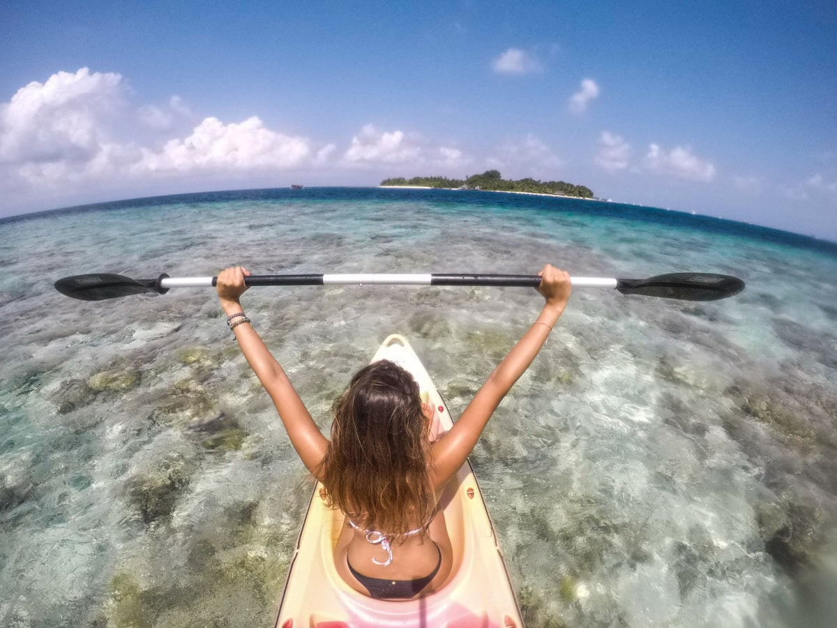 Elaine Villatoro Kayaking in Rasdhoo - Maldives
