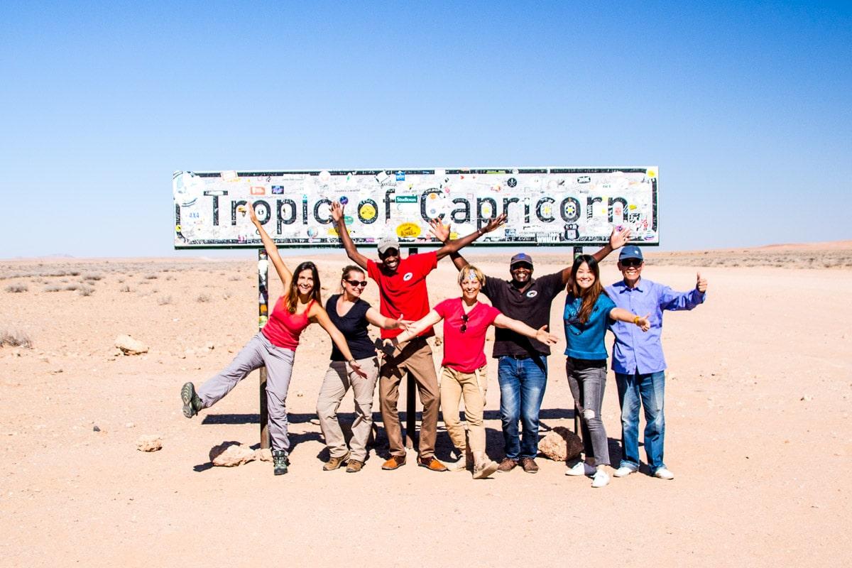 Placa de Trópico de Capricórnio na Namíbia