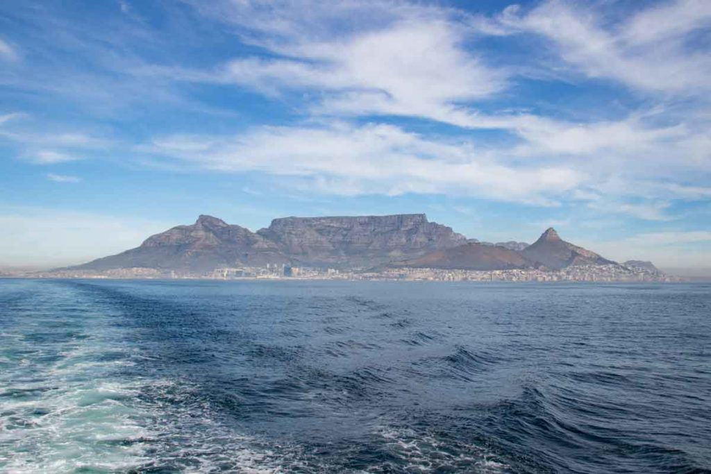 Cape Town seen from the boat ride to Robben Island