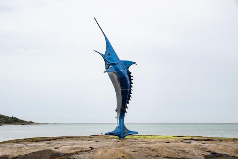 Blue Marlin Monument at Praia do Morro in Guarapari, Brazil