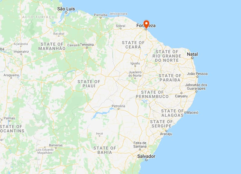 where is fortaleza brazil on a map