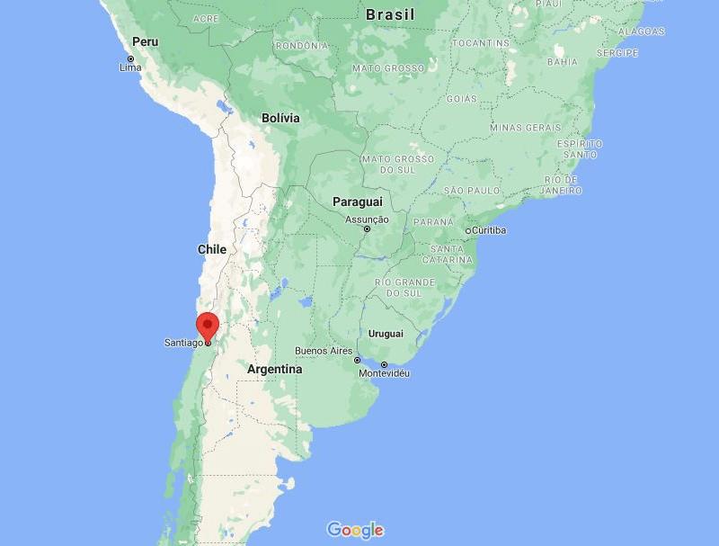 onde fica Santiago Chile no Mapa