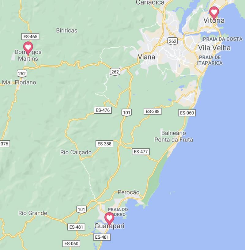Onde fica Domingos Martins no mapa