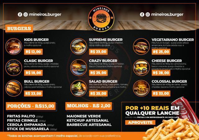 Cardapio do Mineiros Burger
