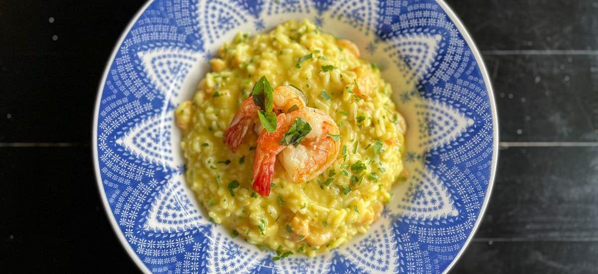 Risoto de camarao no Bistro Odoya - Restaurante Vegetariano em Maresias